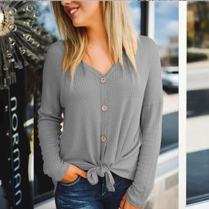 Tops - LAST ONE! Convertible Gray Waffle Knit Tee